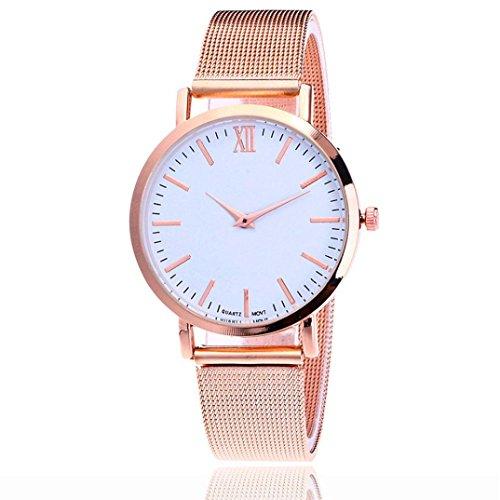 Jiameng orologio da polso, lovers vigilanza della lega cintura nera amante quarzo analogico lega fragile orologio di lusso orologi commerciali (donna, oro rosa)