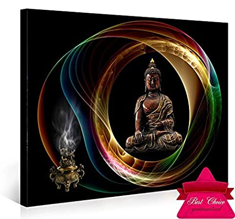 Nuolan Art- Buddha Canvas Wall Art, Framed Panel Wall Art , Merciful Buddha, Act with Compassion ,24x16 inches Framed Canvas Print art,Sincere Belief-UK-P1L4060-001