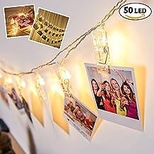 Guirnalda Decorativa de 50 Luces con Clips para Fotografías y Arte – Decoración de Luz para Día de San Valentín – Cadena con Pinzas Ganchillo - Iluminación LED – Cuerda de Organización Colgante