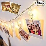 LED Wand Fotoclips Lichterketten mit 50 LEDs – batteriebetriebene Fotoleine