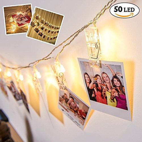 LED Wand Fotoclips Lichterketten mit 50 LEDs – batteriebetriebene Fotoleine & Fotolichter Kette für Fotos und Bilder als romantische Dekoration für Schlafzimmer, Wohnzimmer & zum Valentinstag Deko