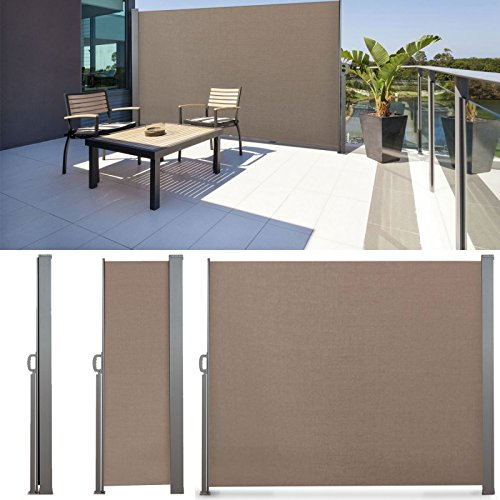 IDMarket - Paravent rétractable 300 x 180 cm store taupe latéral enroulable