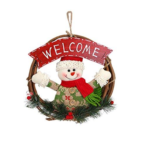 Weihnachten Kranz deko, Gusspower Weihnachtsfeier Poinsettia Pine Haustür Kranz DIY Dekoration, für Heim Yard Indoor Outdoor Tischdekoration Allwetter Außenkranz (A)