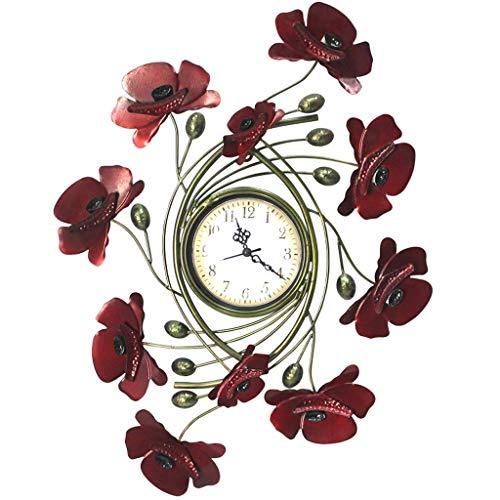 LOFAMI Wanduhren Kreative rote Blumen-Form-Metallwanduhr-Wohnzimmer-Küchen-Schlafzimmer-Kunst-Hintergrund-Wand-Diagramme, die Uhr hängen (Größe : 43 * 54cm)