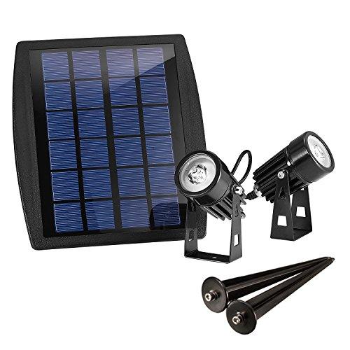 Solar-outdoor-lampen Spot (Liqoo® LED Solarleuchte Mini Solarlampe mit 2er Spotlight Solarbeleuchtung Gartenleuchte Wasserdicht IP65 für Outdoor Flur LED Solarstrahler)