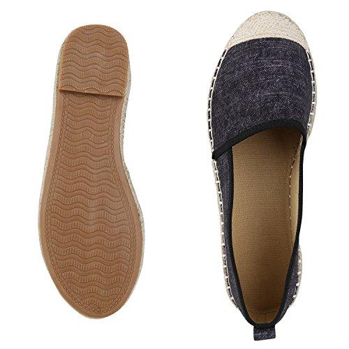 Japado Komfortable Damen Espadrilles Bequeme Slipper Funkelnde Glitzerapplikationen Modische Sommer Schuhe Gr. 36-41 Schwarz Meliert