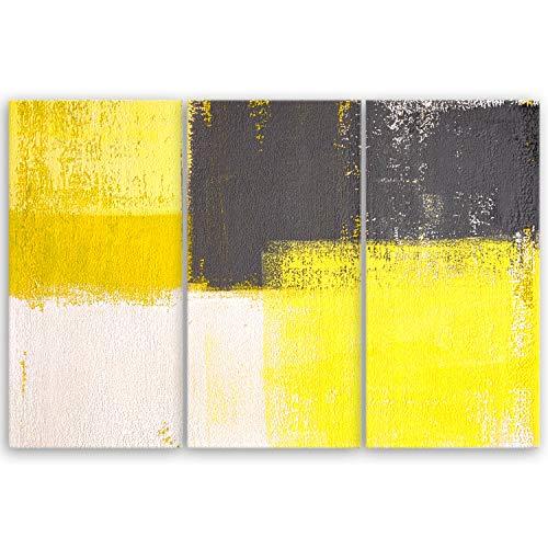 ge Bildet® hochwertiges Leinwandbild Abstrakte Kunstwerke - Yellow and Grey - abstrakt Gelb Grau Weiß - 90 x 60 cm mehrteilig (3 teilig) 2205 A