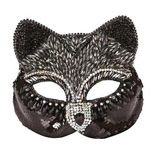 STOBOK Maskerade Maske Strass Fuchs und Katze Gesichtsmasken für Erwachsene (schwarz) - Maske Maskerade Katze Schwarze