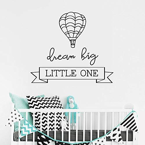 yiyiyaya Dream Big Little One Heißluftballon Entfernbare Wandaufkleber für Kindergarten Kinder Schlafzimmer Vinyl Aufkleber Wohnzimmer Wanddekoration gelb 47 x 40 cm