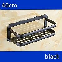 Comparador de precios BATHAE Aluminio espacio Negro plataforma de baño 30Cm los 40Cm 60cm baño de plata cesta de toallas pulido de plata esquina del estante montado en la pared, 40 cm Negro - precios baratos