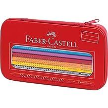 Faber-Castell 112450 - Estuche de metal con 16 ecolápices de colores, 1 ecolápiz triangular de grafito y 1 afilalápices, cierre de cremallera, multicolor