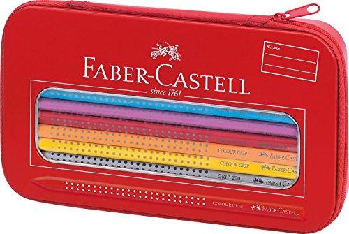 Faber-Castell 112450 – Estuche de metal con 16 ecolápices de colores, 1 ecolápiz triangular de grafito y 1 afilalápices, cierre de cremallera, multicolor