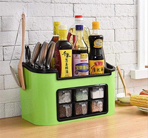 VIOY Gewürz-Behälter-Satz-Regal-Organisator-Behälter-Regal-Teiler für Schränke Lagerregal-Aufbewahrungsbehälter-Multifunktionsküchen-Zahnstangen-Messer-Halter-Plastikgewürz-Kasten,Grün