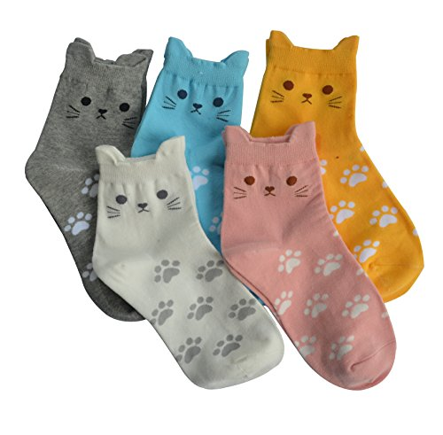 Women Funny Cat Socks Cute Animals Fun Funky Novelty Gift for Ladies Pack of 5
