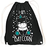 vanVerden Sport Turnbeutel I am Batcorn Batman Unicorn inkl. Geschenkkarte, Farbe:Black (Schwarz) / Türkise