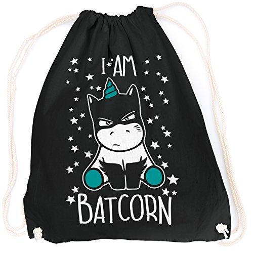 vanVerden Sport Turnbeutel I am Batcorn Batman Unicorn inkl. Geschenkkarte, Farbe:Black (Schwarz) / ()