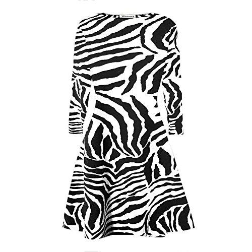 Janisramone Damen Swing-Kleid Kleid schwarz * Einheitsgröße Zebramuster
