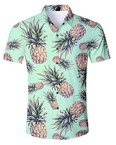 Idgreatim Männer Jungen Funky Hawaiian Hemden Shirt für Männer Hemd Ärmel Button Down Hemden Shirts