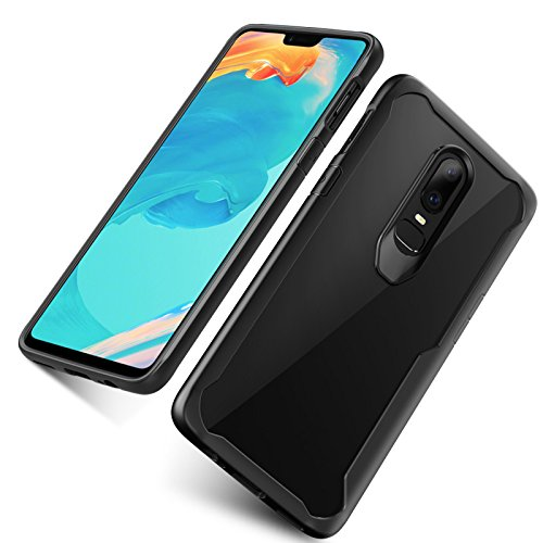 Amozo Back Cases and Covers for Oneplus 6 - Transparent Back with Soft Side Bumper air Cushion for Drop Protection (One Plus 6) (Transparent Shockproof Case)