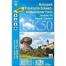 UK50-10 Naturpark Fränkische Schweiz-Veldensteiner Forst, nördl.Teil: Bayreuth, Kulmbach, Lichtenfels, Scheßlitz, Hollfeld, Waischenfeld, Weismain, ... Karte Freizeitkarte Wanderkarte)