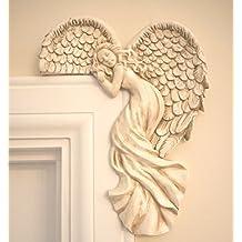 Ornamento para marco de la puerta de Garden Catcher®, con forma de ángeles, estilo chic vintage, con aspecto de marfil, adorno de Navidad único, ...