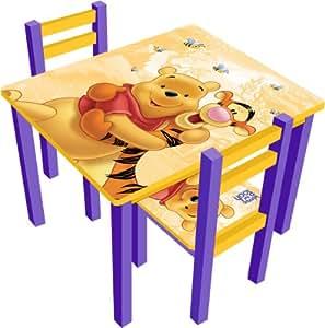 disney winnie l 39 ourson ensemble table rectangulaire 2 chaises cuisine maison. Black Bedroom Furniture Sets. Home Design Ideas