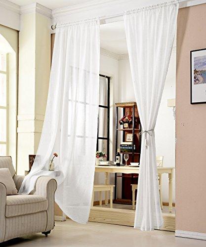 WOLTU® VH5860ws, Gardinen transparent mit Kräuselband Leinen Optik, Vorhang Stores Voile Fensterschal Dekoschal für Wohnzimmer Kinderzimmer Schlafzimmer, 140x225 cm, Weiß, (1 Stück)