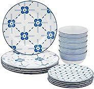 Amazon Brand - Solimo 15 Piece Dinnerware Set (Blue Floral)