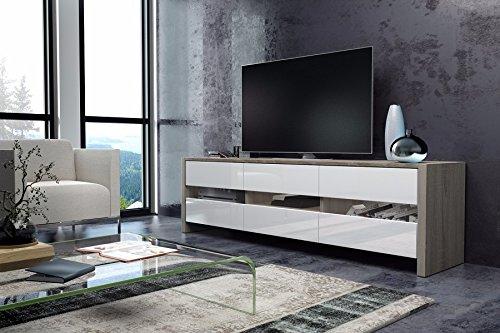 Skylight - Meuble TV / Banc TV ( 139 cm - Sonoma Claire / Blanc Brillant)