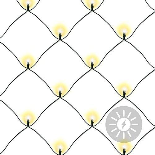 Lichternetz Solar 105 LED warm weiß Pavillon Beleuchtung mit Blinkfunktion 2,1 x 1,15 m grünes Kabel Gartenbeleuchtung Solarlichterkette Außenlichterkette