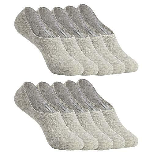 YOUCHAN Sneaker Socken Damen Herren Füßlinge 10 Paar Footies Unsichtbare Kurze No Show Socken Großes Silikonpad Anti Rutsch_Grau_39-42