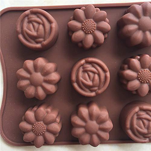 KOKOUK Cavity Silicone Flower Rose Chocolate Cake Soap Mold Baking Ice Tray Mould DIY Silica Gel 3 Different Flower-Shaped Chocolate Mould Cake Slicer Cutting -