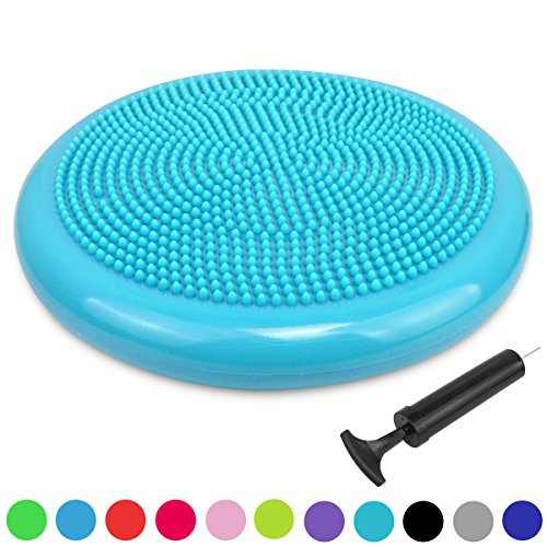 Extra Thick 34 Matte Surface Balance Cushion, Air Stability Wobble Board, Wobble Cushion, Posture Trainer, Balance Board, TRIDEER Anti-Burst Fitness Stability Pad in Anti-Slip Surface, with Free Pump - for Improving Posture, Supports Muscle, Physical Therapy, Rehabilitation, Core Stability Training - Suitable for Men and Women, Available in 6 Colors(Black, Blue, Green, Purple, Red, Orange,Turkis) (34cm Turkis)
