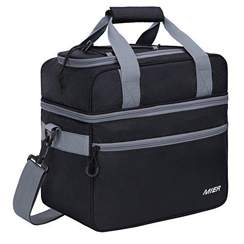 Mier borsa termica grande 2 scomparto grande borsa termica per pranzo, picnic, campeggio, spiaggia, viaggio in auto, escursionismo, viaggi, 22l, nero
