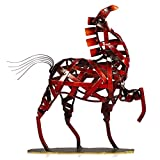 Tooarts Metall Geflochtenes Pferd Deko Skulptur Dekofigur Moderne Skulptur zum Dekorieren