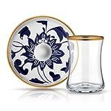 Teeglas und Unterteller aus Bone China Porzellan mit Blau-und Goldverzierung Blumenmuster 165 ml 6er Set