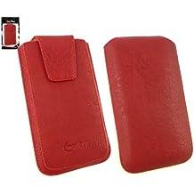 Emartbuy® Clásica Serie Rojo Cuero PU de Lujo Funda Carcasa Case Tipo Bolsa ( Talla 4XL ) con Cierre Magnético y Mecanismo de Pestaña para Estirar adecuada para Huawei Ascend G7