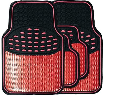 Premium Black/red metallic rubber mats FOR LEXUS GS SALOON