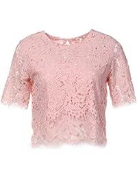 XMY Puntilla Camiseta con Cuello Redondo Manga Corta T-Flow de Mujeres Liberales