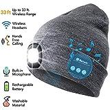 ATNKE LED Bluetooth Bonnet Lumineux, Rechargeable USB Rechargeable Musical Running Chapeau Ultra Lumineux 4 LED Lampe Étanche Utilisation De La Lumière pour Ski Randonnée Camping Vélo/Gris