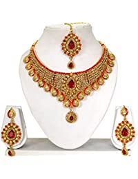 Vipin Store Golden & Red Color Stone And Kundan Gold Plated Jewelery Set - B078Y8BJCC