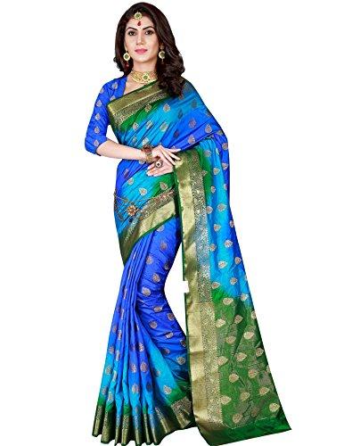 Viva N Diva Women's Banarasi Silk Blue & Green Saree