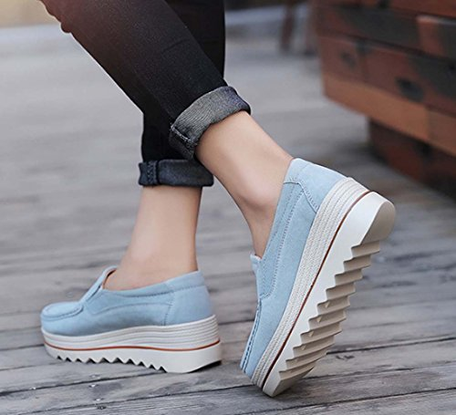 Scarpe A Piattaforma Spessa In Pelle Scarpa Casual Femminile Scarpe Scarpe Da Donna Per Studenti Light blue