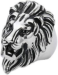 SORELLA'Z Mens Alloy Metal Silver Tone Vintage Lion Head Ring