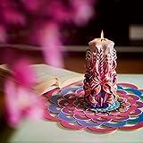 Große handgeschnitzte duftlose Kerze - Perfekte Heimdekoration oder Geschenk-Kerze für viele Gelegenheiten - Atemberaubende cremefarbene violette Farbe mit Perldekoren - 2