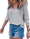Meyison Damen V Ausschnitt Casual Shirts Knit Pullover Tops Grau-L