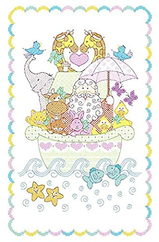 Jack Dempsey Needle Art Needle Art 406039 Noah's Ark Crib Quilt Tops, 40 inches -by-60 inches ,