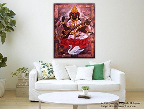 Tamatina Leinwand Gemälde - Maa Saraswati - Indische Kunst