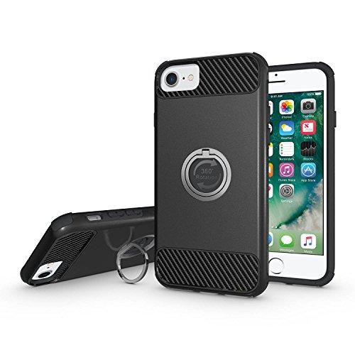 Coque iPhone 7, MSK® Coque iPhone 7 Protection Case [Tough Armor] [360 Degrés Rotating Métal Ring] Housse Etui Coque Pour Apple iPhone 7 Smartphone Protection - Noir Noir