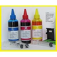 INCHIOSTRO COMPATIBILE PER RICARICA CARTUCCE STAMPANTI hp 301, 302, 304, 62 3 x 100 colore + refill clip